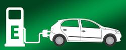Piktogramm mit einem Elektroauto an einer Ladesäule