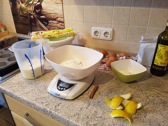 Foto mit den vorbereiteten Zutaten in meiner Küche