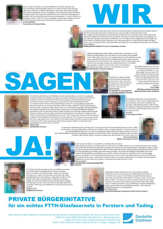 Plakat der Bürgerinitiative Glasfaser Forstern