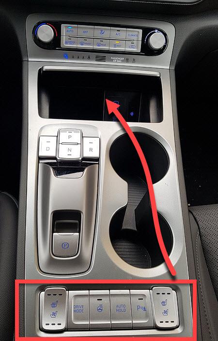 Die Mittelkonsole im Hyundai Kona Electric