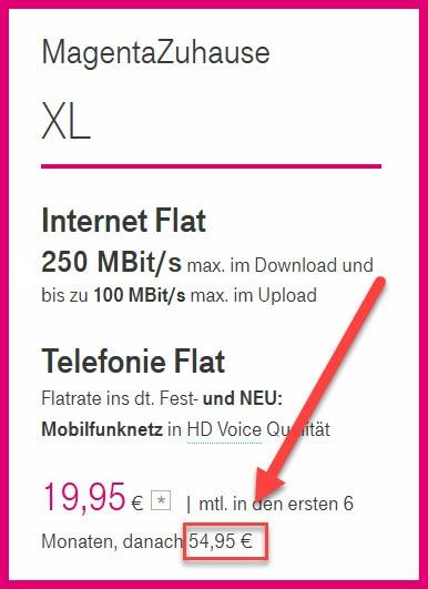 Screenshot des Telekom-Tarifs XL