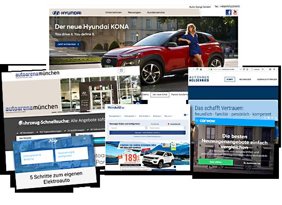 Collage mehrerer Screenshots von Hyndai Händlern im Internet