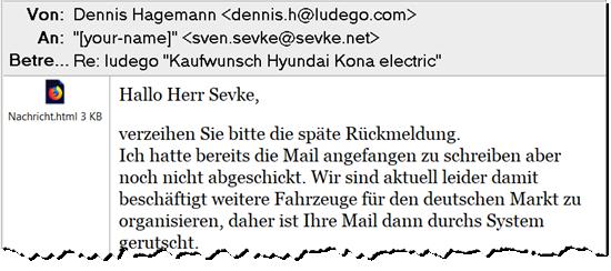 Ausriss aus einer E-Mail von Ludego