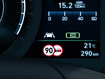 Verkehrszeichenerkennung im Hyundai Kona Elektro