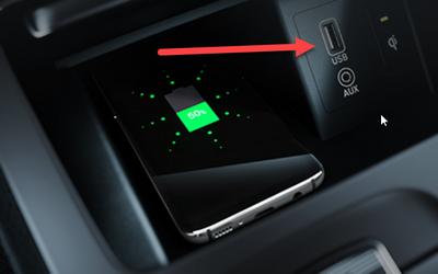 Oberer USB-Anschluss im Hyundai Kona Elektro