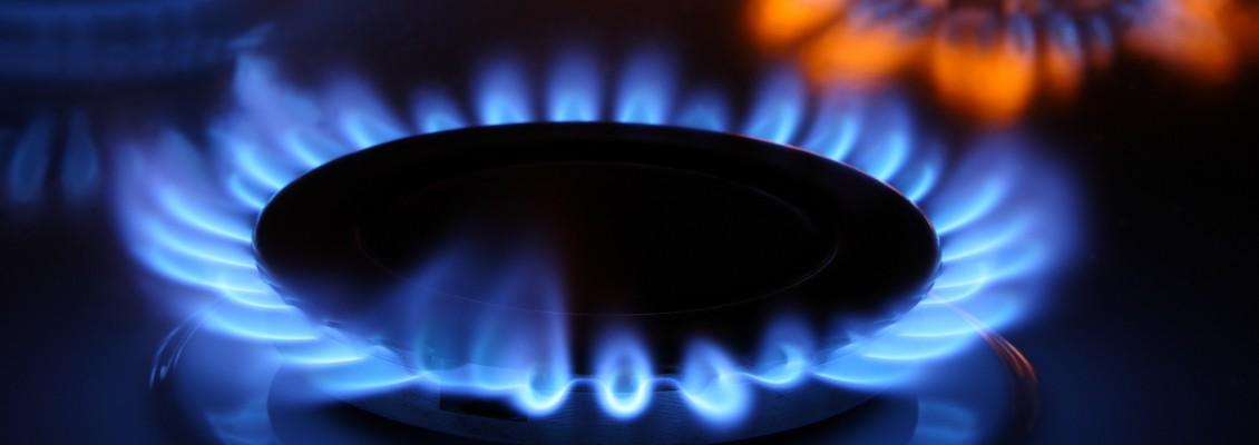 Foto einer Gasflamme auf einem Gasherd